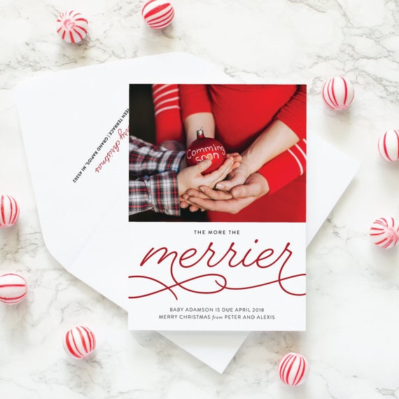 Christmas Card Pregnancy Announcement Card, Maternity Christmas Photo Card, Pregnancy Photo Holiday Card - More the Merrier