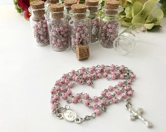 24 full size rosary baptism favors/Comunion Favors in little glass bottles Rosaries/recuerdos de bautizo/rosarios completos/christening favo