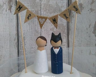 Bride & Bat Groom, Batman inspired personalised peg doll wedding cake topper, batman wedding