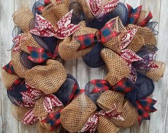 Navy christmas wreath