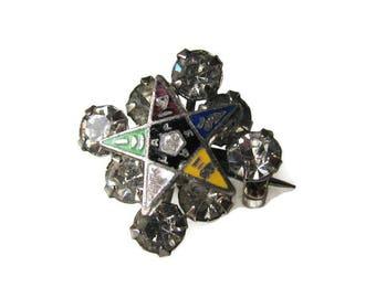 OES Eastern Star Rhinestone Pin, Freemasons, Enameled Star, Square of Rhinestones, Eight Rhinestones