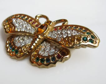 Swan Mark Swarovski Butterfly Brooch, Clear and Colored Crystals, Gold Plated, Vintage 80s Pin, Retired
