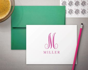 Personalized Stationary, Teacher Stationery, Monogram Notecards, FAMILY MONOGRAM, Personalized Gift for Her, Folded Notecards