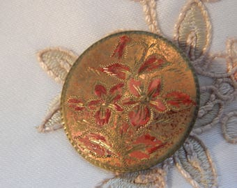 Red Flowers - One Piece Stamped Brass Antique Button