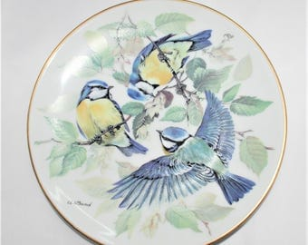 """1985 WWF SONGBIRD PLATE by Ursula Band - Blue Titmouse (""""Blaumeise"""") - DM01"""