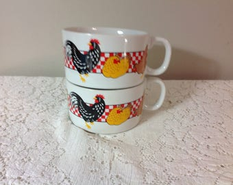 Vintage Rooster/Chicken Soup Bowls Pair of Soup Bowls Animal Soup Bowls