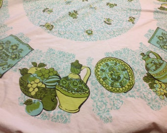 Vintage Round Fringed Tablecloth Aqua Green and White Round Tablecloth