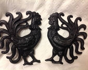 Pair of Roosters Black Cast Iron Roosters Vintage Rooster Wall Decor Black Scrolled Rooster