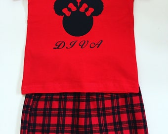 Girls Red Flannel Skirt Set, Girls Red Flannel Skirts, Girls Custom Tee Shirts, Girls Red Plaid Skirts, Girls Custom Tee Shirts, Red Skirts