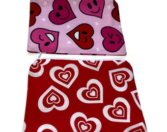 Reusable Snack Bags Set of 2 Red White Hearts Valentine's Day