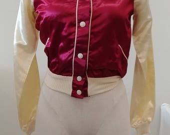 1950's Vintage Women's Magenta & Cream Satin Snap Up Bomber Jacket Cream Ribbed Cuffs and Collar  w/ White Snaps From Surf and Turf Acetate