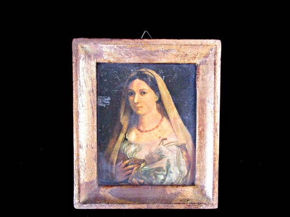 Vintage Italian Portrait, Italian Woman, Small Accent Wall Decor, Gold Framed Wall Decor, Old World Decor