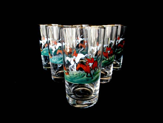 Fox Hunt Barware, Set of 6, Hand Painted, Gold Rimmed Highballs, Signed HG Schwarzbach, Rare Set, Very Old, Early 1900s