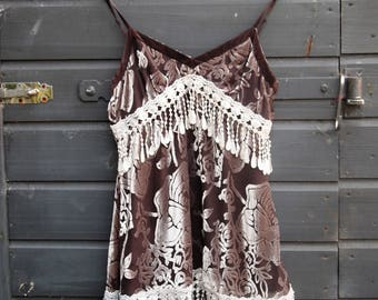 Boho Top, Gypsy Top, Dance Top, Feminine Top, Lace Top, Velvet Top, Summer Top, Womans Clothing, Tops, Tees, Elegant Top,Bohimian, Upcylced