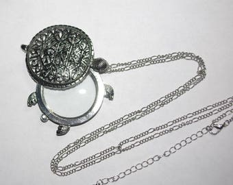 Turtle Pendant Necklace with Hidden Magnifying Glass - S2101