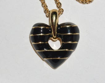 Joan Rivers Reversible Puffy Heart Necklace -  Black and Gold - S2266