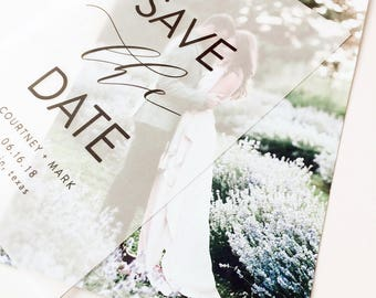 Layered Vellum Save The Date Photo Cards // Printed on Extra Thick Premium Photo Card Stock