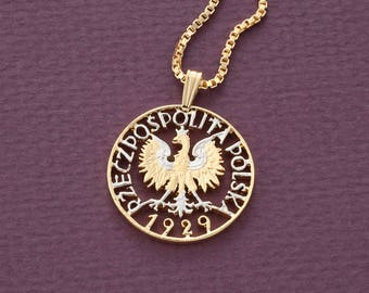 Poland necklace etsy polish eagle pendant and necklace poland one zloty coin hand cut 14 karat gold mozeypictures Images