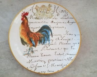 Rooster Script by Williams-Sonoma 9 inch plate Made in Italy