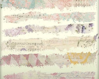 SALE: Digital Scrapbooking Journaling Tattered Page Borders - Set of 12 - Paper Trims - Grungy Paper Strips - Tattered Edge - Washi Tape