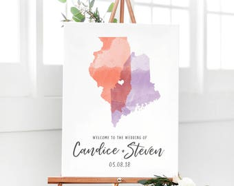 Wedding Sign with Watercolor States - Wedding Signs with Watercolor - Welcome Wedding Sign - Wedding Entrance Sign - Watercolor Sign