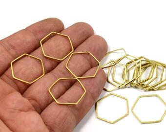 150 Pcs.  Raw Brass  1x20 mm Hexagon Shape Ring Circle Findings