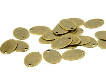 100 Pcs. Antique Brass 10x14 mm Oval 1 Hole  Blanks Tag