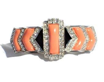 Kenneth LANE KJL Art Deco Style Peach Thermoset Rhinestones Clamper Bracelet
