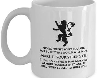 Game of Thrones Make it Your Strength Tyrion Lannister Quote Mug Gift for Fan Coffee Cup GOT Fans