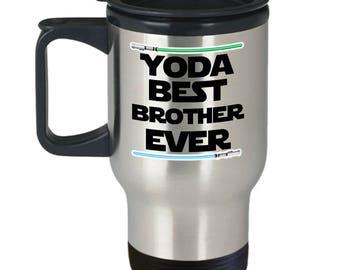 Star Wars Yoda Best Brother Funny Gift Travel Mug Lightsaber Coffee Cup Nerd