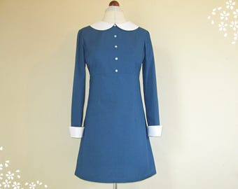 60s Mod Dress, Blue Dress, Empire Line, White Peter Pan Collar, Long Sleeves, Cuffs, 1960s Scooter Dress, 60s Mini Dress, Twiggy, Dolly, 60s