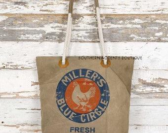 Feed sack/ rustic / tote/ chicken feed/ country/ handbag