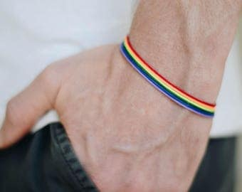 Pride bracelet, rainbow flag colors, LGBT string bracelet for men, men's bracelet, strand only, gay, gift for him, no charm, mens jewelry