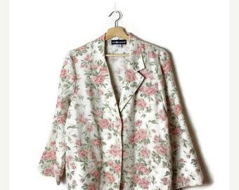 ON SALE Vintage White x Pink Floral Light Slouchy Blazer from 1980's*