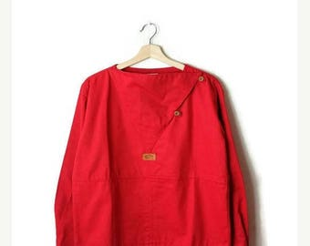 ON SALE Vintage Red Long sleeve Cotton Pullover /Tunic  from 90's
