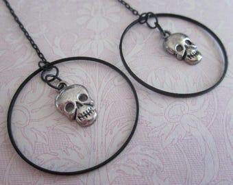Gorgeous Gothic Drop Skull Charm, Black Plated hoop Earrings-/ Halloween / Dia Dia De Los Muertos / Gothic / Earrings