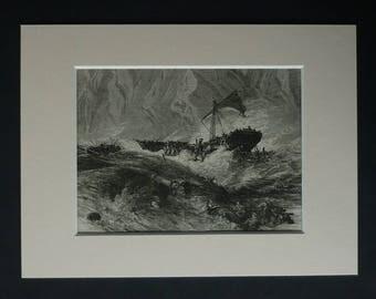 1880s Antique Shipwreck Print, Available Framed, Iceberg Art, Shipwrecked Gift, Sailing Ship Wall Art, Stormy Sea Decor, Fierce Ocean Storm