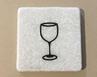 Wine Glass Decorative Coaster Tile Quote Coaster Trivet Home Or Dorm Room Decor