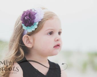 Purple Aqua headbsnd,Burlap flower headband, Lilac aqua child headband