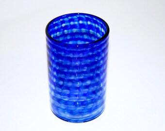 cobalt blue hand blown glass tumbler art glass blown glassware blown