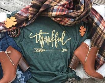 Thankful - thankful shirt - thanksgiving shirt - thankful grateful blessed - give thanks -gold glitter