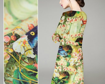 Yellow Green Silk Linen Fabric with Plant Floral and Bird Print for Apparel