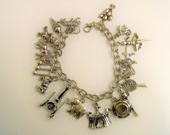 Circus Charm Bracelet, Everyone Loves the Circus, Under the Big Top, Circus Jewelry, Let's Go To The Circus, Animals are my thing
