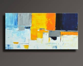 ABSTRACT PAINTING Blue Yellow Gray White Painting Original Painting Canvas Art Modern Acrylic Painting 48x24 Wall Art - Unstretched - 29Ci2