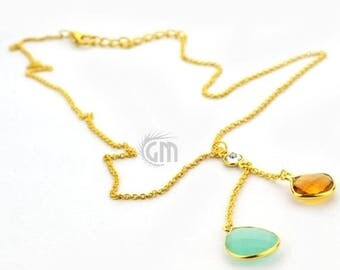 """45% OFF 60 Percent OFF 2pcs Aqua Chalcedony & Citrine Necklace, Faceted Cushion and Pears Pendant with 24k Gold Plated 18"""" Chain.(NC-16152"""