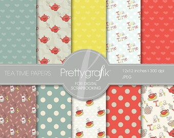 80% OFF SALE Tea time digital paper, commercial use, scrapbook papers, background - PS503