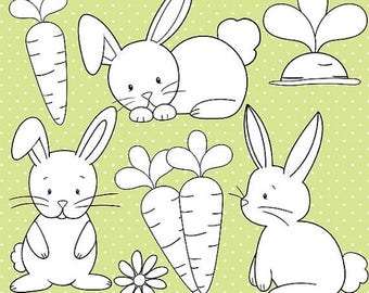 80% OFF SALE Easter bunny stamps commercial use, graphics, digital clip art, digital images - DS507