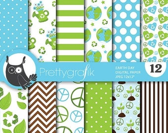 80% OFF SALE Earth day digital papers, commercial use, scrapbook papers, background, - PS708