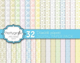 80% OFF SALE damask digital paper, commercial use, scrapbook papers, background  - PS568