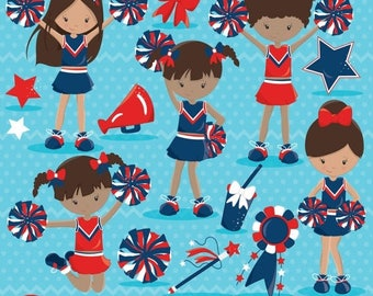 80% OFF SALE Cheerleader clipart commercial use, vector graphics, digital clip art, digital images - CL791
